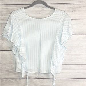 Zara trf Collection - White & Blue Stripped Blouse